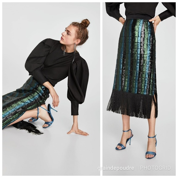 c8e68d0a9 Zara Skirts | Studio Sequin Fringe Pencil Skirt Xs S | Poshmark